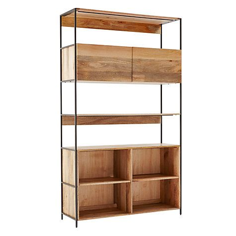 Buy west elm Industrial Modular 124cm Open and Closed Storage Bookshelf  Online at johnlewis.com - West Elm Industrial Modular 124cm Open And Closed Storage