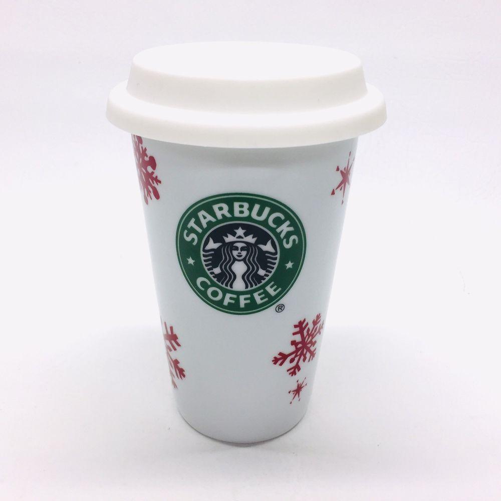 Starbucks 2010 Christmas Red Snowflake Tall Latte Mug