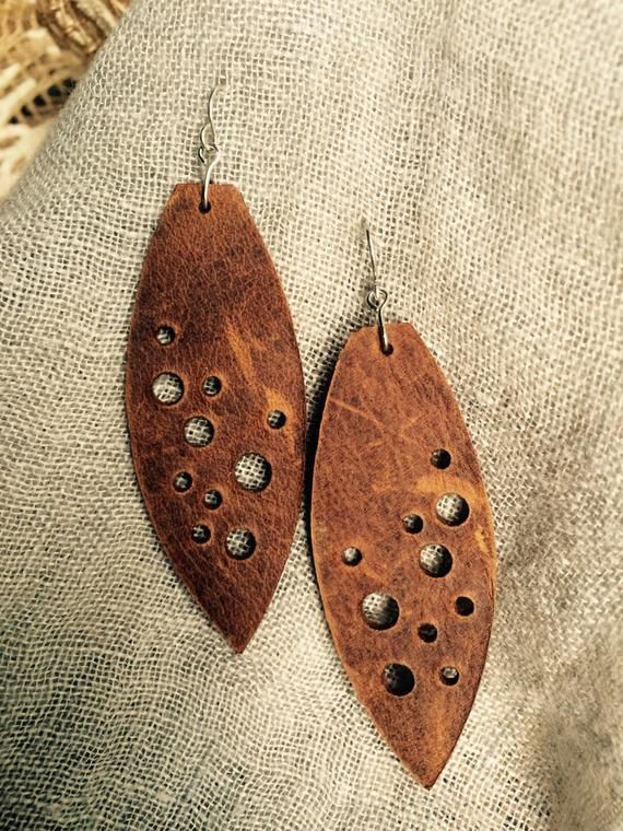 Photo of Brown Leather Night Sky Earrings