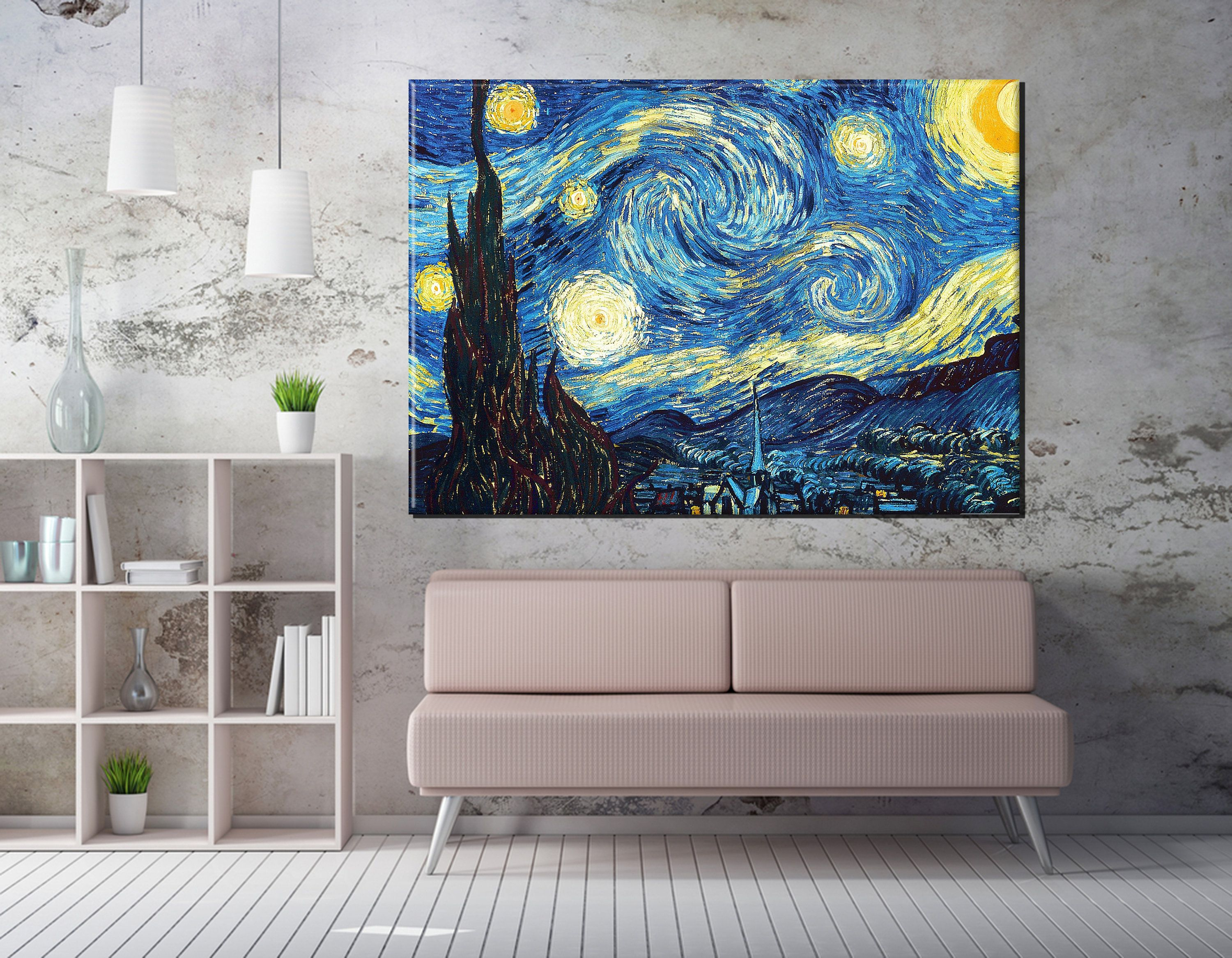 Starry Night Vincent Van Gogh Canvas Wall Art Prints Canvas Etsy Wall Canvas Wall Art Prints Canvas Wall Decor