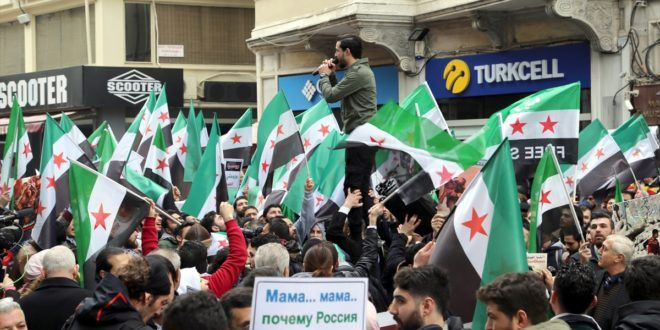 سوريون يهتفون في إسطنبول لإنقاذ الغوطة