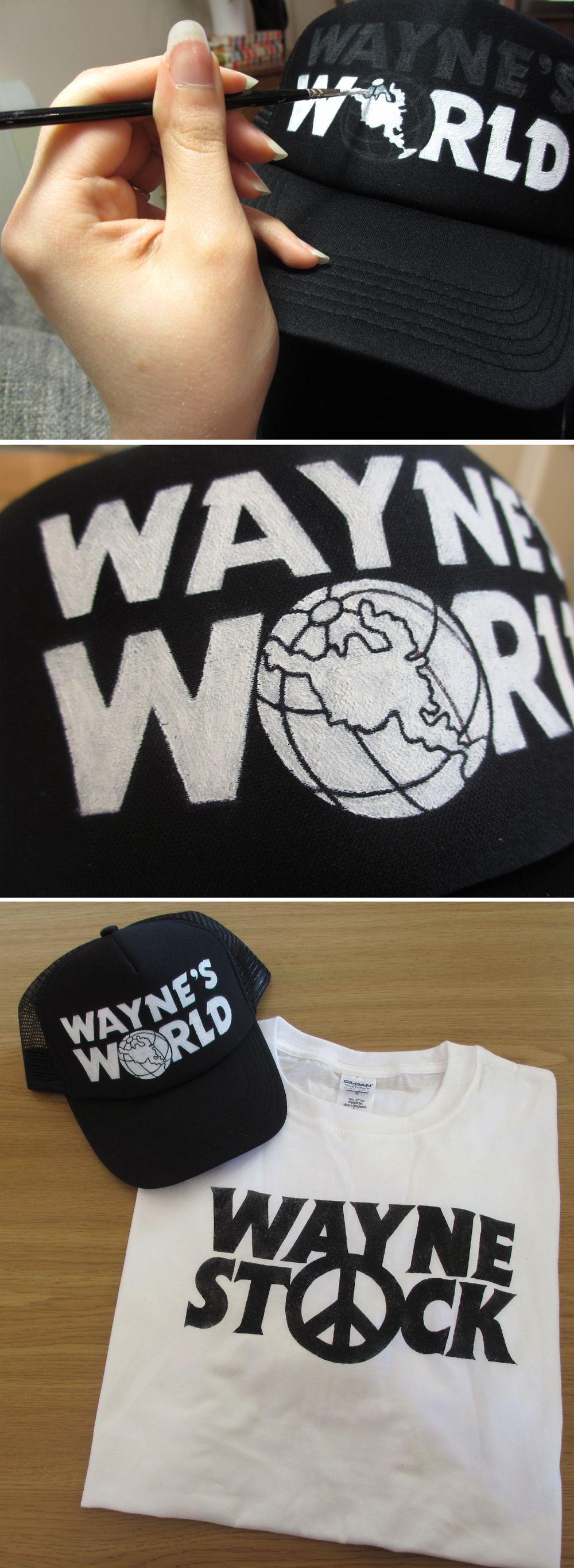WAYNE/'S WORLD TRUCKER HAT ~ BLACK MESH CAP ~ FUNNY HALLOWEEN COSTUME 90s garth