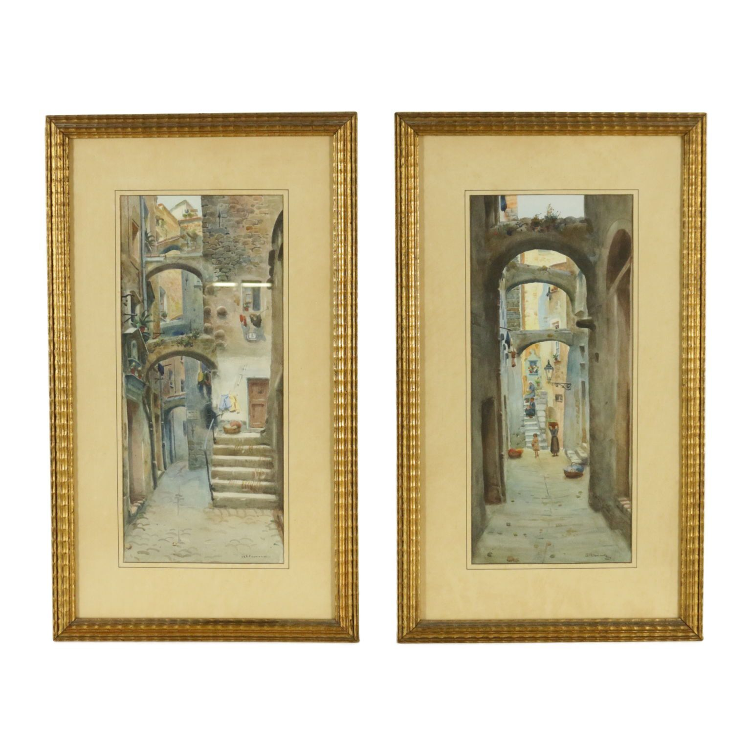 art dessin #art Kunst: Pair of watercolors by Michele Allavena A pair of watercolors on paper depicting Sanremo alleys and painted by Michele Allavena (1863-1949). Both signed in the lower right corner. Presented in coeval frame. 20th century. Wear consistent with age and use. Any damage or loss is displayed as completely as possible in the pictures.