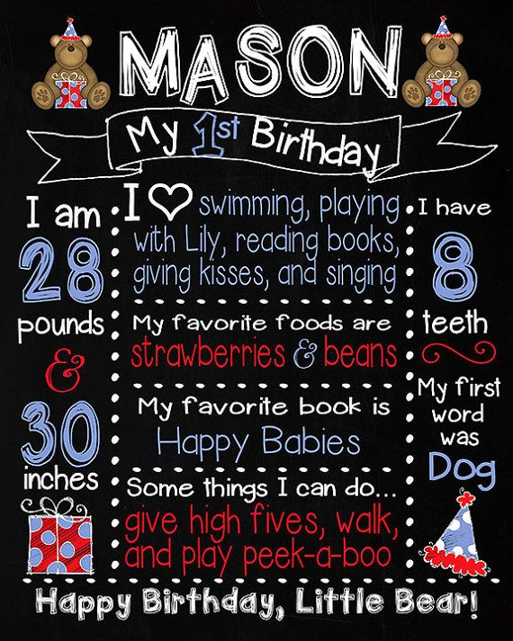 1st Birthday Bears TEDDY BEAR Sign w/ Banner by MuchTooGraphic