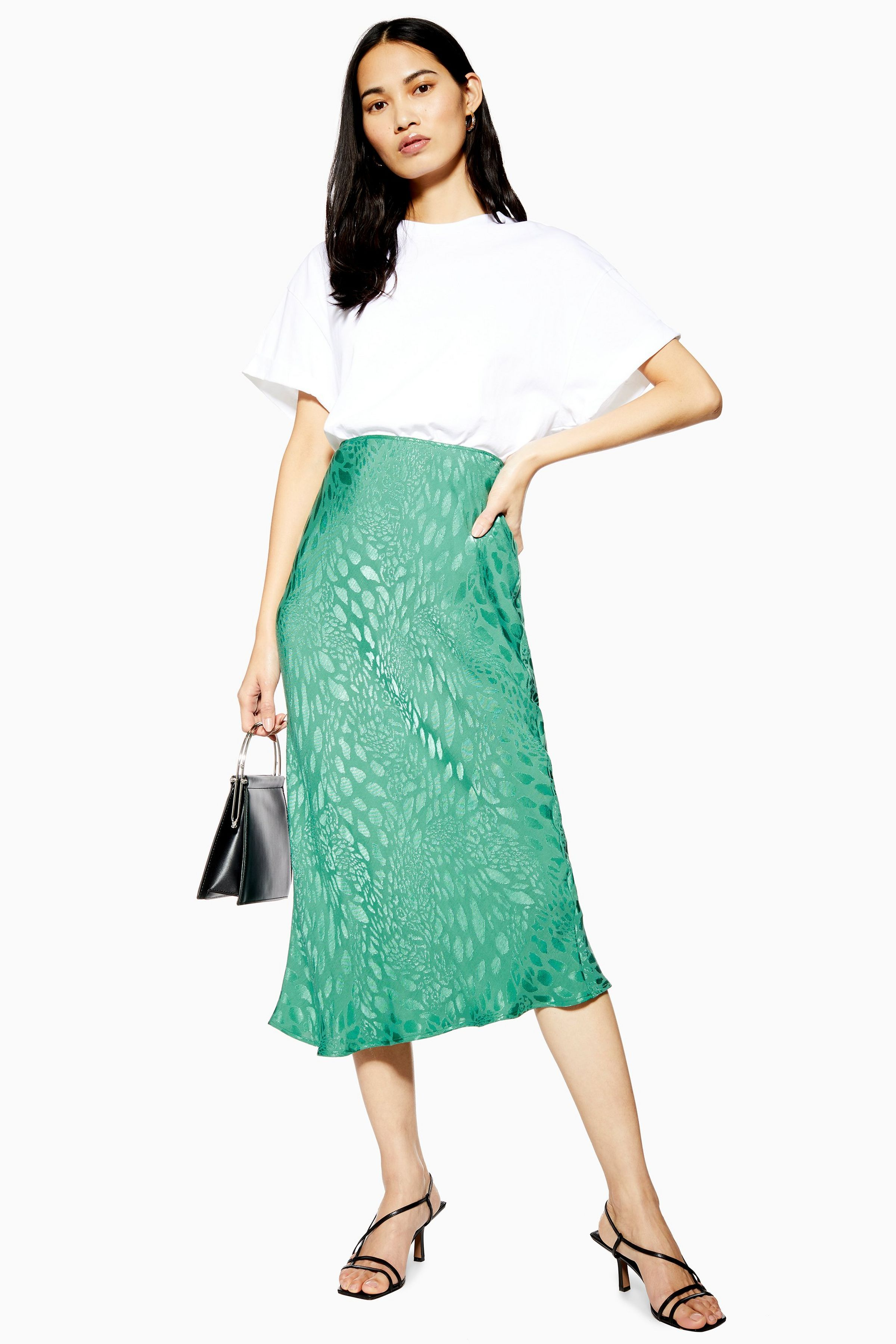 7c9026f3e9f Animal Jacquard Satin Bias Midi Skirt in 2019 | clothes | Skirts ...