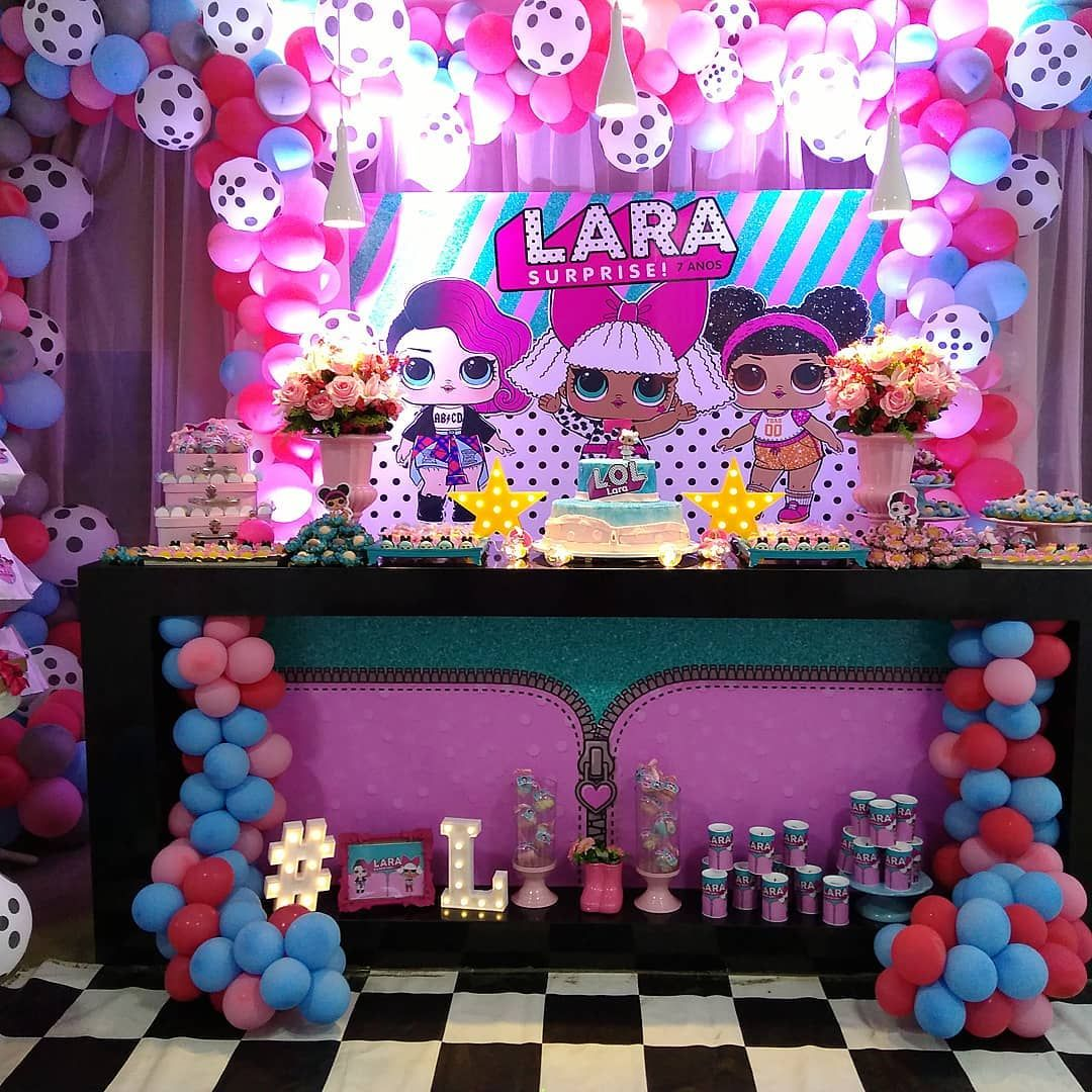 Lol surprise dolls balloon arch and backdrop aula in