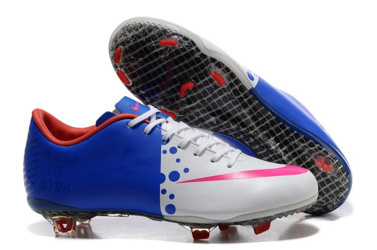Discount Blue White Mercurial Firm Ground Soccer Boot for Men