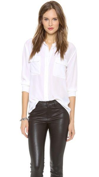 5fd0e3a316a6f5 White Blouse   Leather Pants. Equipment Signature ...