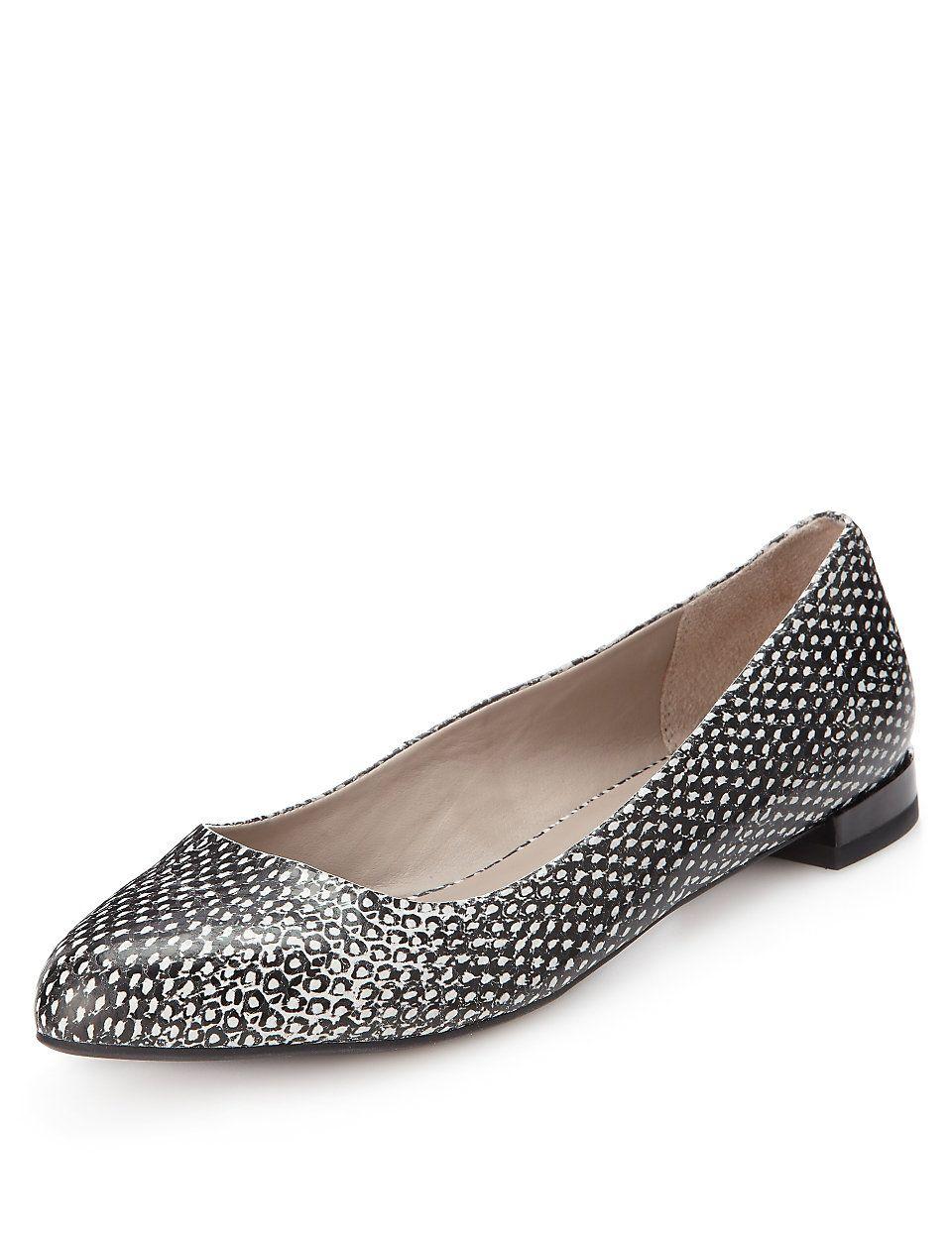 M&S | Footglove™ Leather Almond Toe Pumps | £39.50