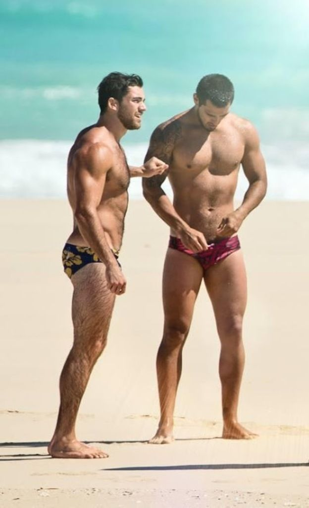 Hot men naked on beach