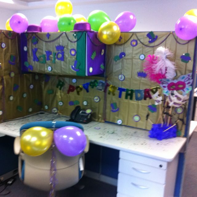 Mardi Gras birthday decoration the office Office Cubicle