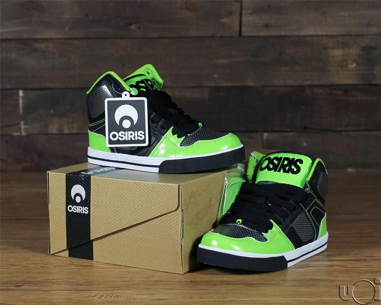 dabddf4b9095e7 New Kids Youth NYC 83 Osiris Skate Shoes Black Gunmetal Lime Green Boys  Girls