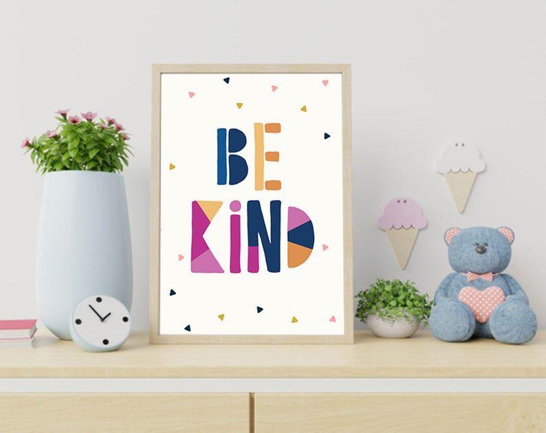 Be kind kids poster be kind print be kind sign
