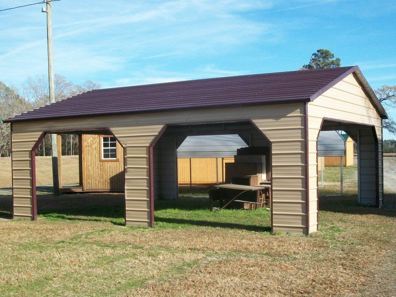 22x31 boxed eave double car carport (With images) Metal