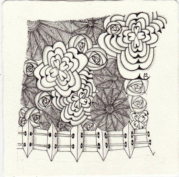 Ein Zentangle aus den Mustern Mozza, MAP, Spinrose, Chasing the Sun gezeichnet von Ela Rieger, CZT