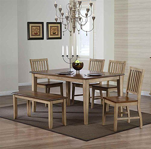 2] 5 pc Brookcrest Rectangular Dining Set with Chairs and Bench