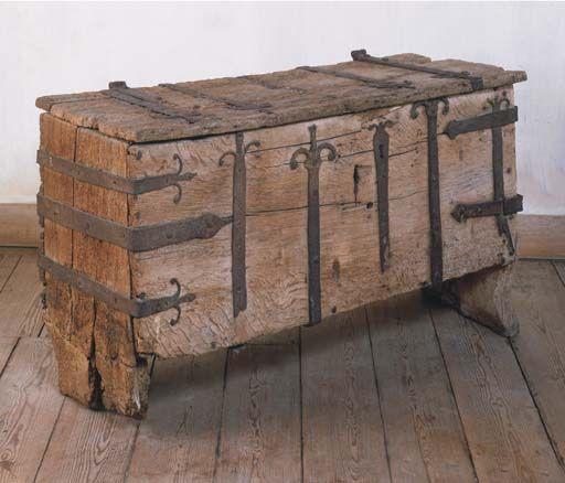 Medieval iron bound chest