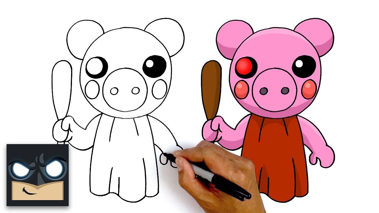 How To Draw Roblox Piggy Step By Step Youtube Piggy Drawings Roblox