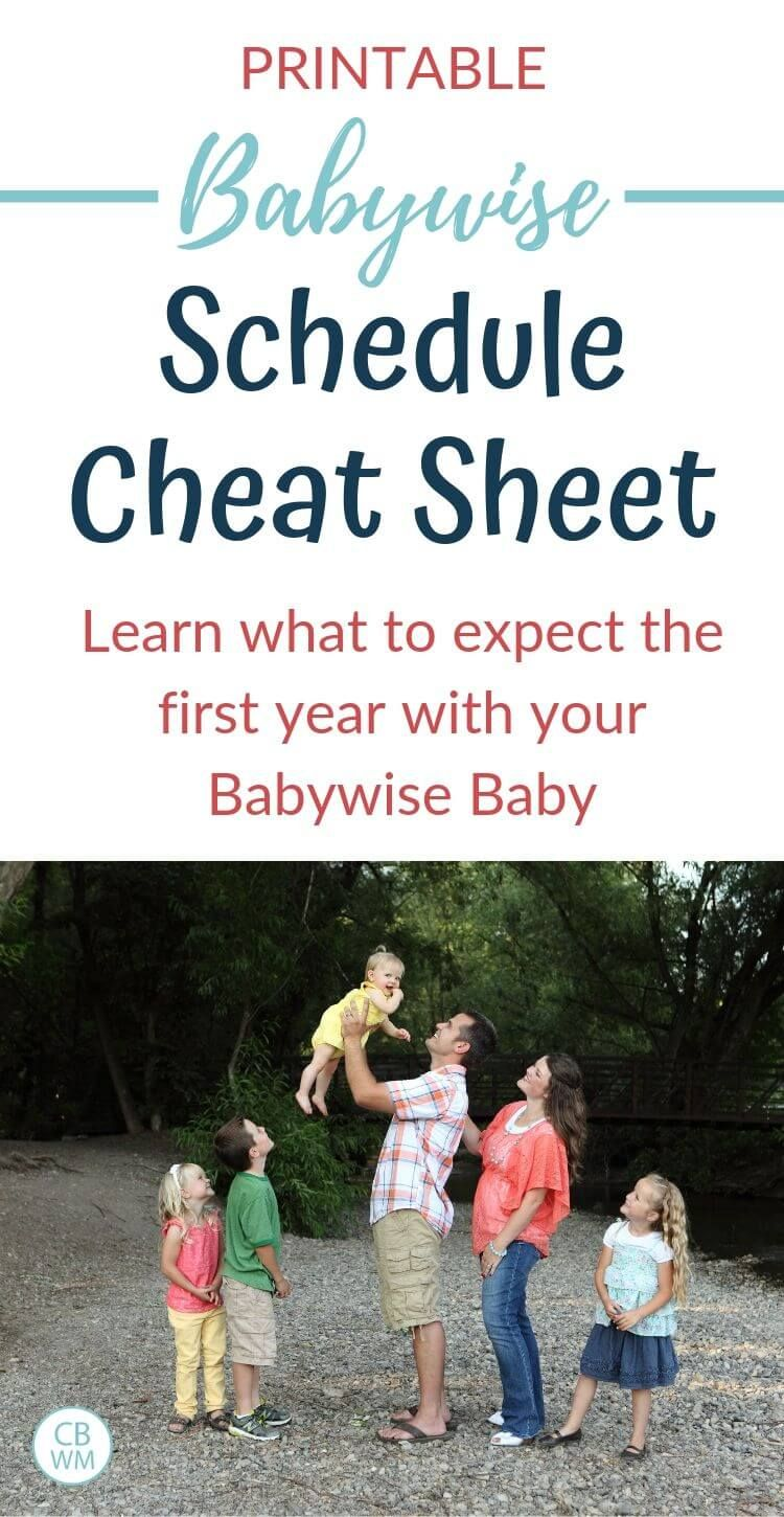 Babywise first year schedule chart cheat sheet babywise