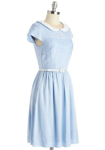 Sweet pale blue mid length with small white belt