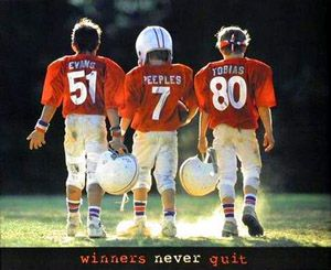 Football Kids Winners Never Quit Youth Football Poster Motivational Inspirational Front Line A