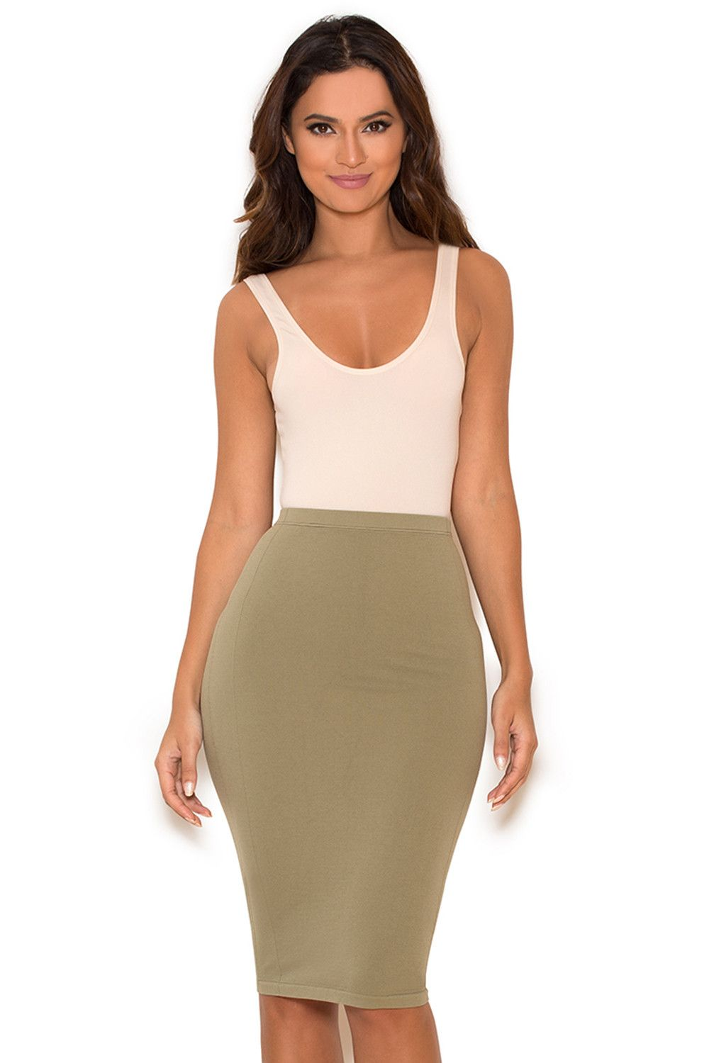 Clothing : Bodysuits : 'Luca' Nude Seamless Knit Stretch Bodysuit