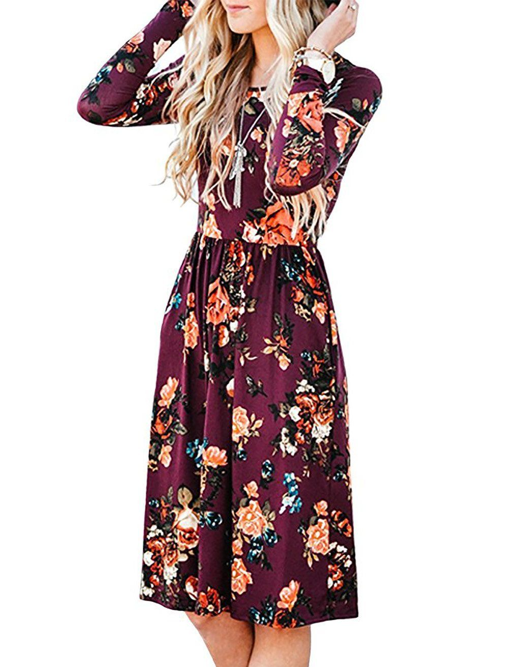 0d941d75d1 EMVANV Women's Casual Swing Pleated Long Sleeve Floral Tshirt Dress With  Pocket at Amazon Women's Clothing store: