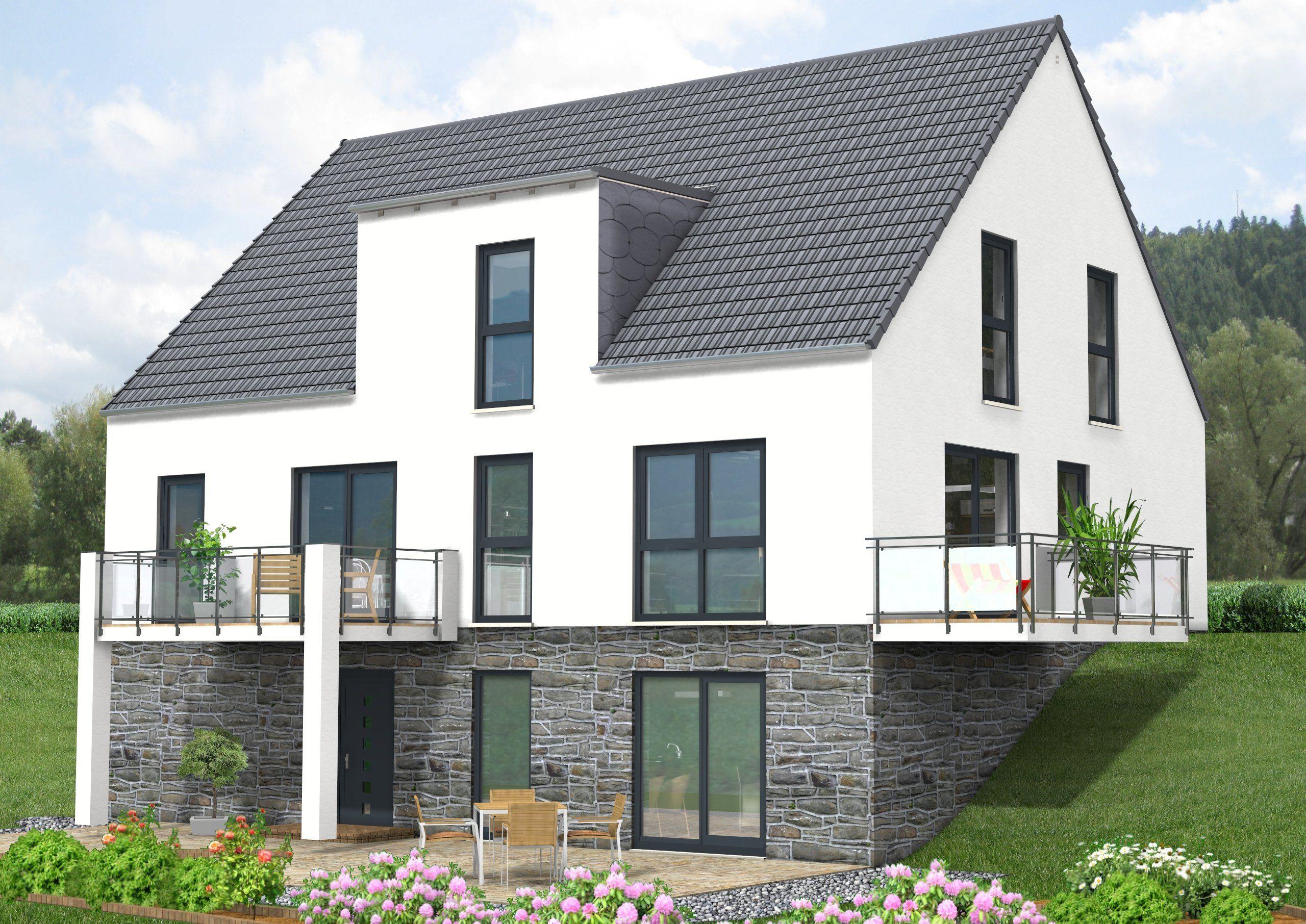 """Haus Idee, """"Bauen am Hang"""" mit einer Gesamt-Wohnfläche von ca. 258 m²"""