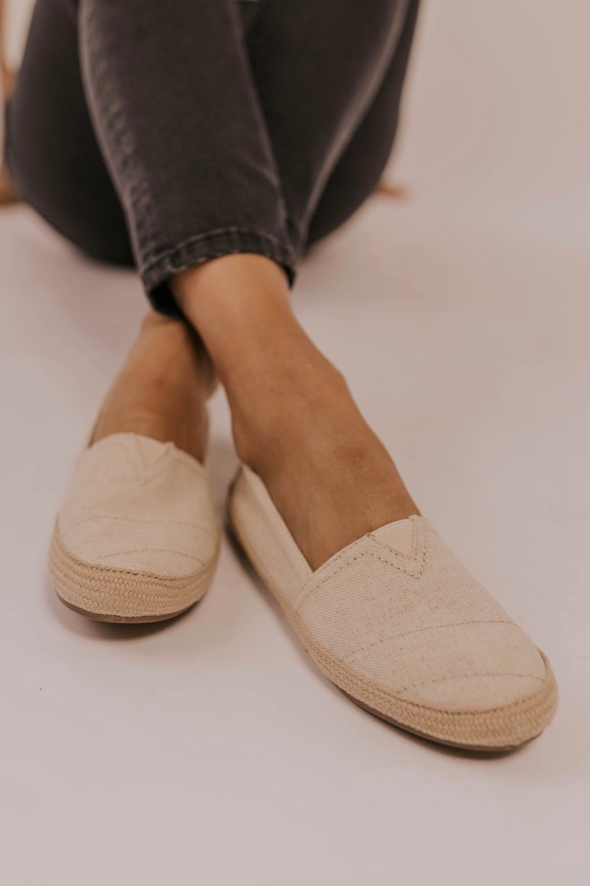 Comfy Canvas Slip Ons. Natural Woven