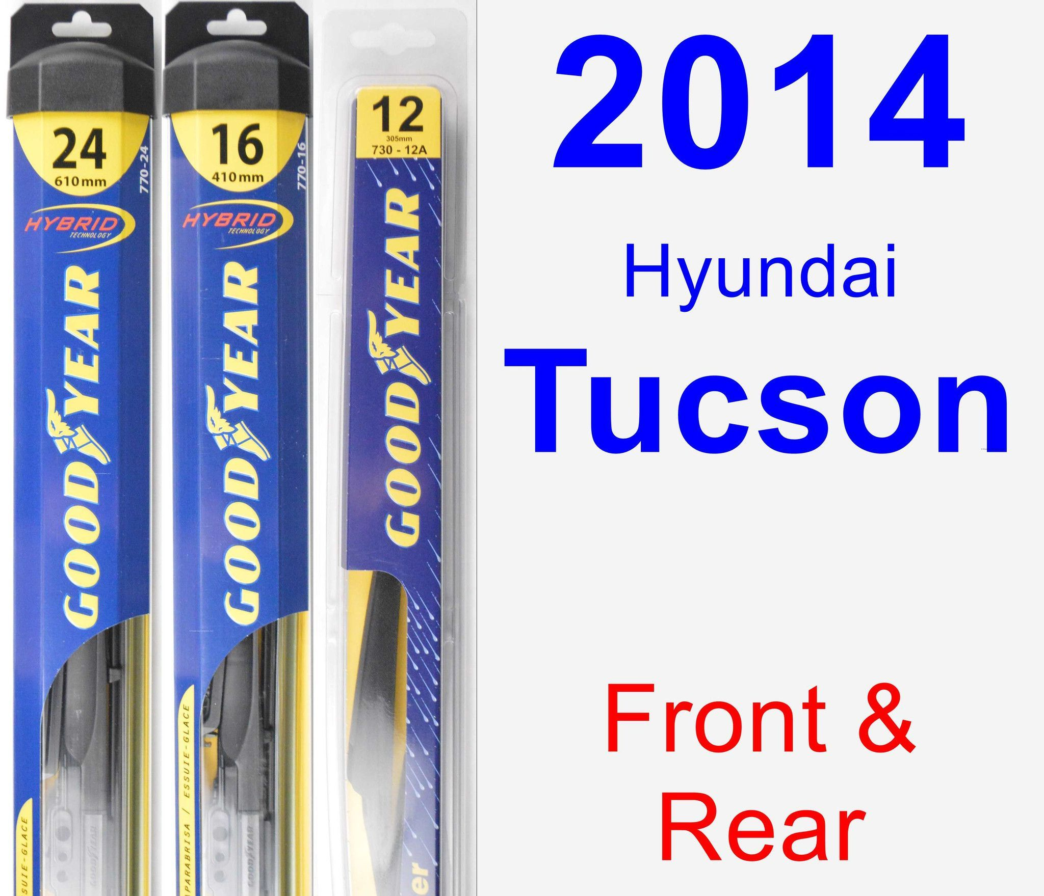 Front & Rear Wiper Blade Pack For 2014 Hyundai Tucson
