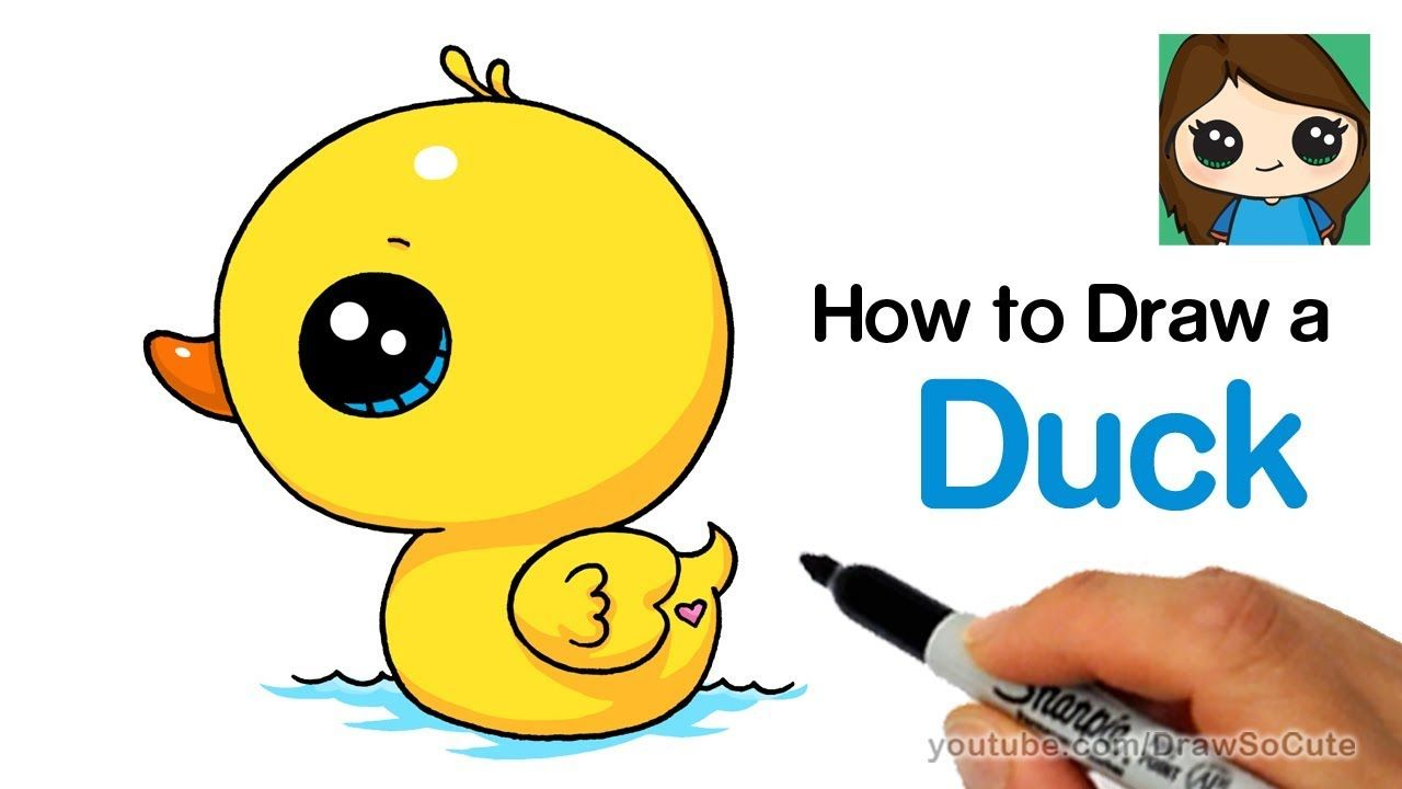 How To Draw A Duck Super Easy And Cute Youtube With Images