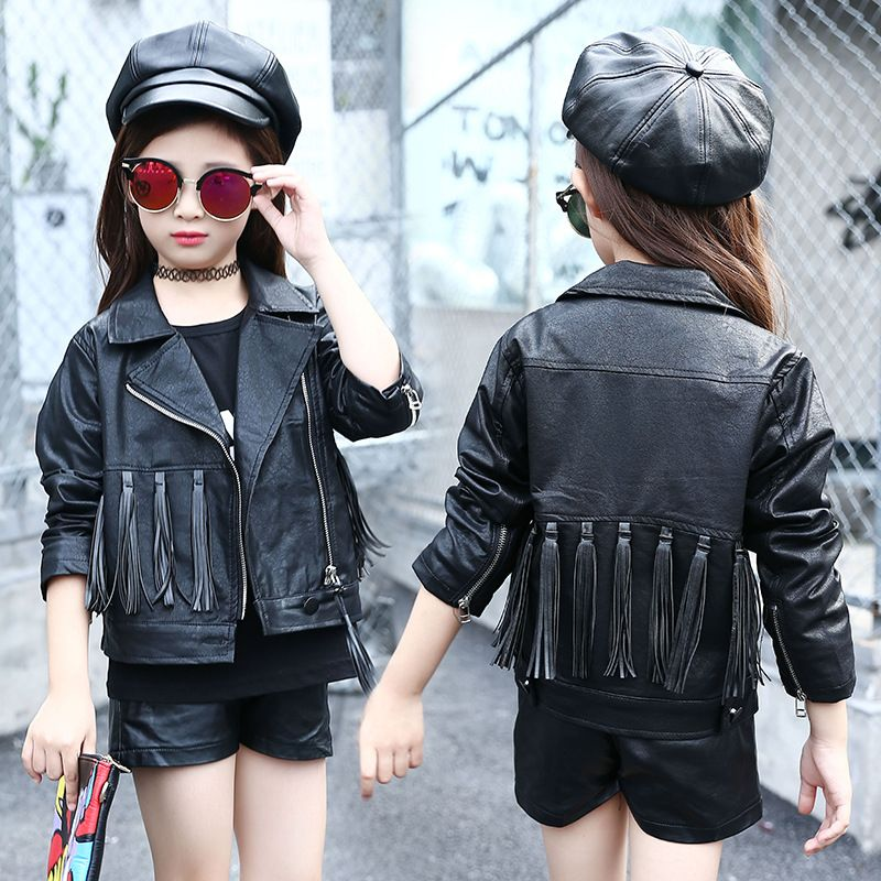 0b47dc579 Click to Buy    tassels PU leather big teen girls jackets and coats ...