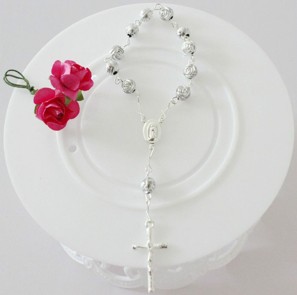 fashion bracelets for baby girls with dangle jesus cross children's strand bracelet rosary link chain good quality