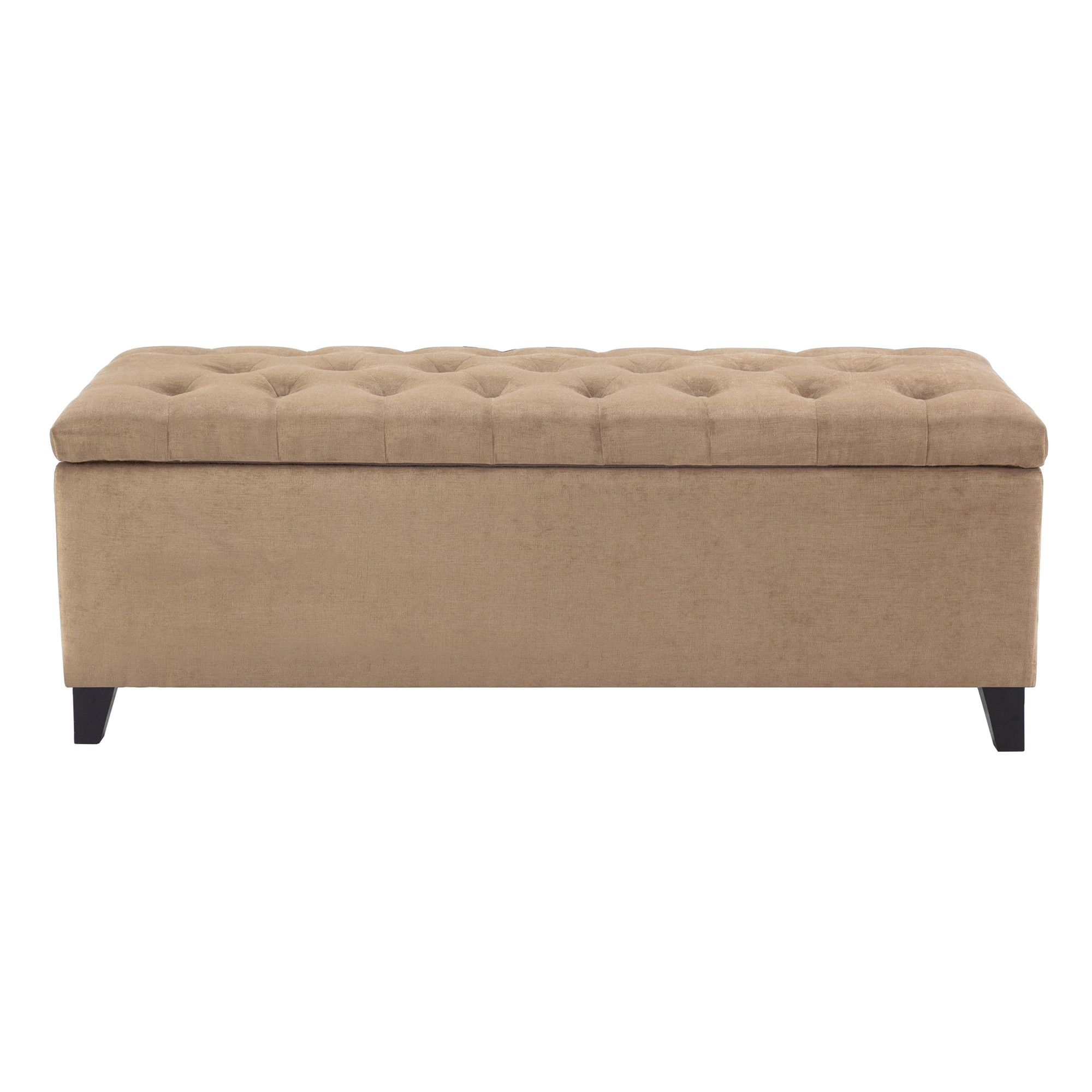 Magnificent Shandra Bench Storage Ottoman With Tufted Top Sand Brown Frankydiablos Diy Chair Ideas Frankydiabloscom