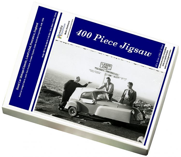 Photo of Jigsaw Puzzle-Bond Car Vintage/Classic, Land's End, Penzance, England-400 Piece Jigsaw Puzzle made to order in the UK