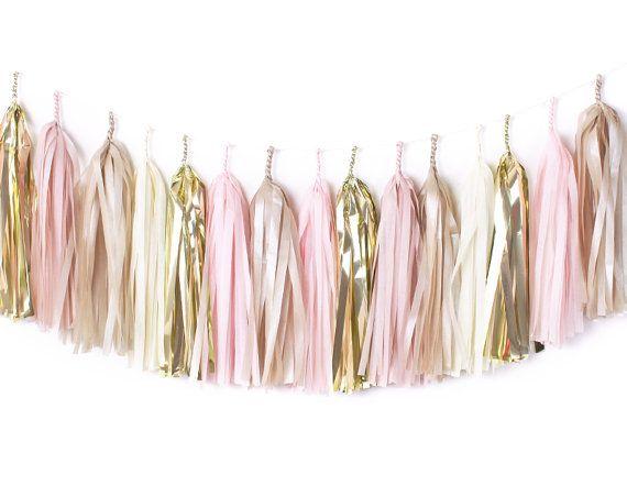 DIY Tassel Garland Kit Wedding Shower Tissue Paper Tassle Decor Balloon Tails Blush mint /& Gold