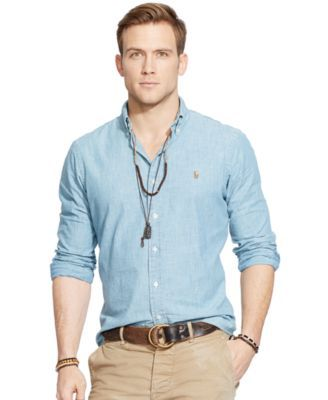965f46c3 Men's Long Sleeve Classic-Fit Chambray Shirt in 2019 | L'Opera ...
