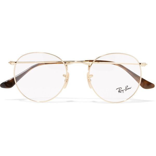 Ray-Ban Round-frame gold-tone optical glasses ( 170) ❤ liked on Polyvore  featuring accessories, eyewear, eyeglasses, glasses, sunglasses, ... 7624669d45