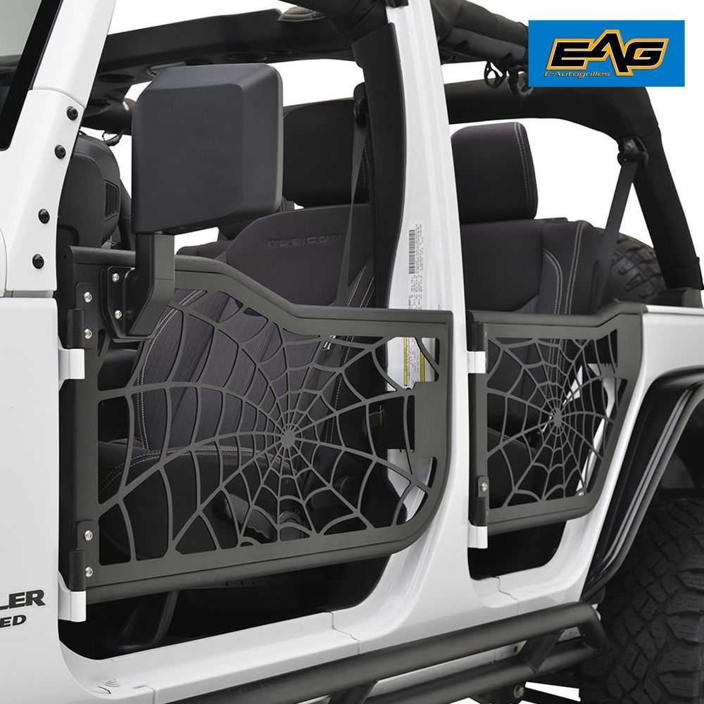 Eag Tubular Spider Web Doors With Mirror 07 17 Jeep Wrangler Jk 4 Door Only Ebay Motors Parts Acce Jeep Wrangler Accessories Jeep Doors Jeep Wrangler Jk