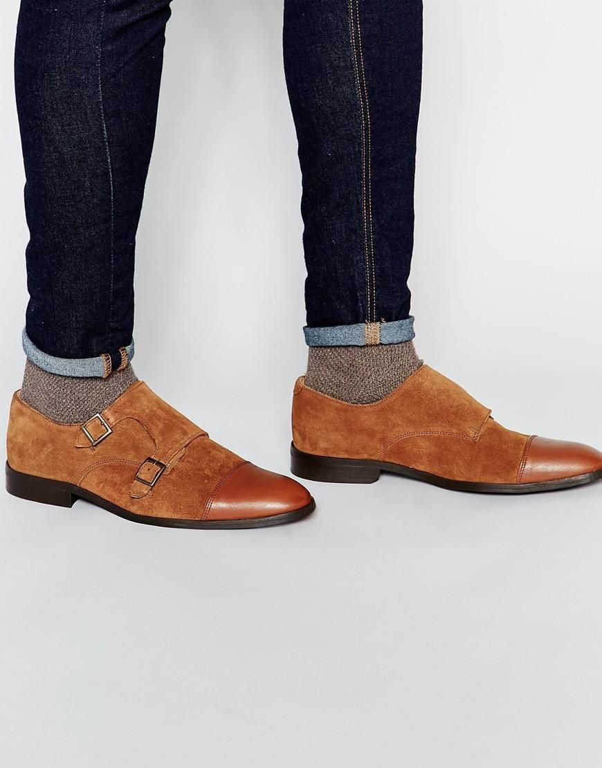 Asos Mens Monk Shoes Suede With Leahter Toe Cap Tan - Boots