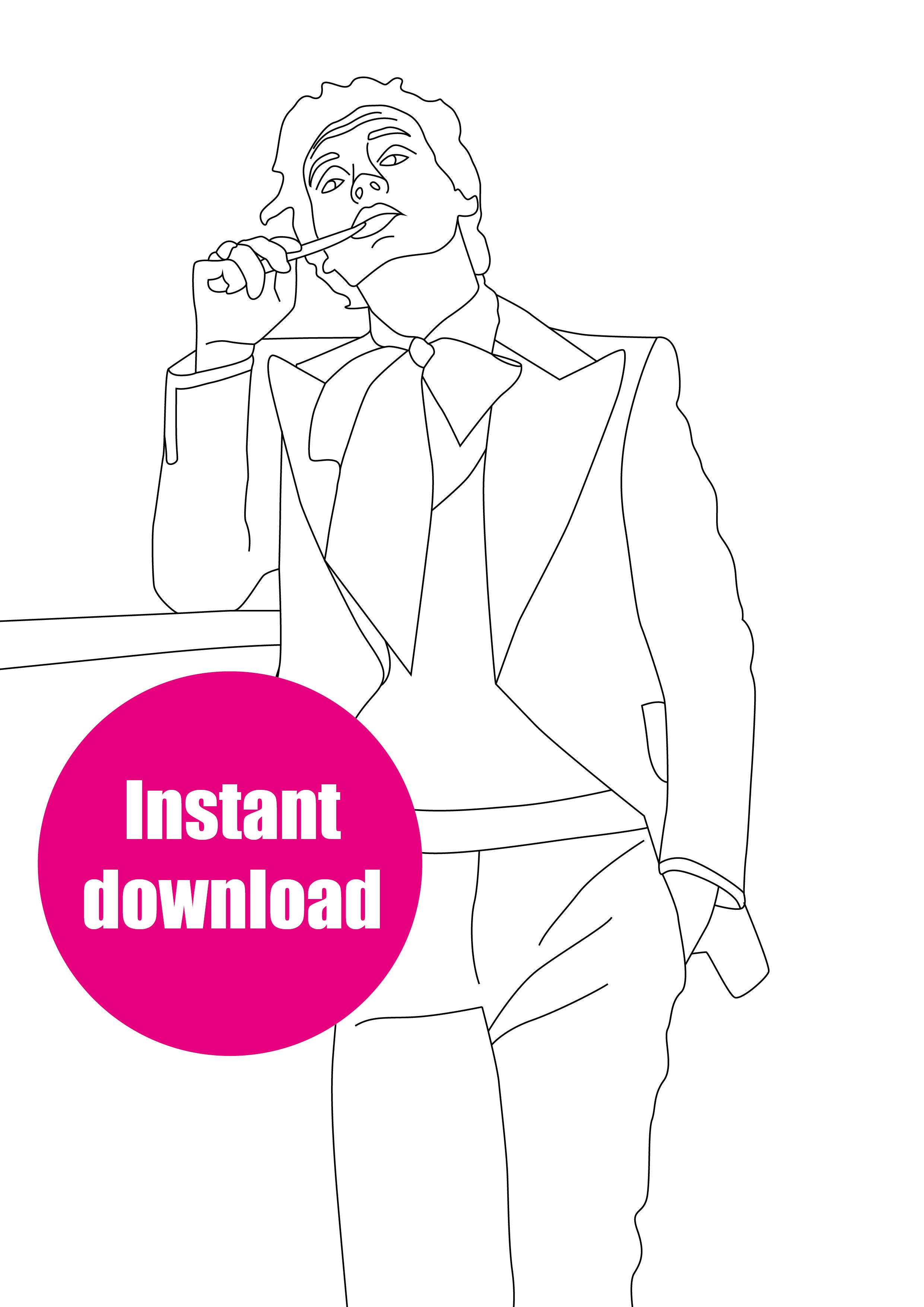 Harry Styles printable colouring sheet Etsy in 2020