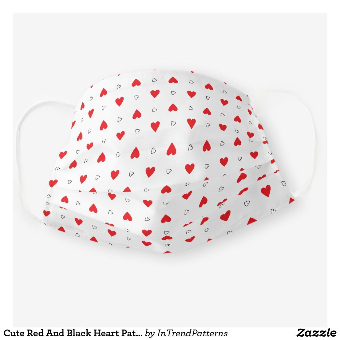 Photo of Cute Red And Black Heart Pattern Cloth Face Mask | Zazzle.com