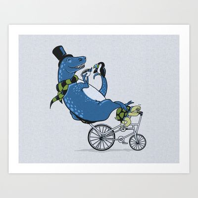 Tandem T-Rex Tastes Tea with Tucan, as Turtle Toils Art Print by Boots - $16.00