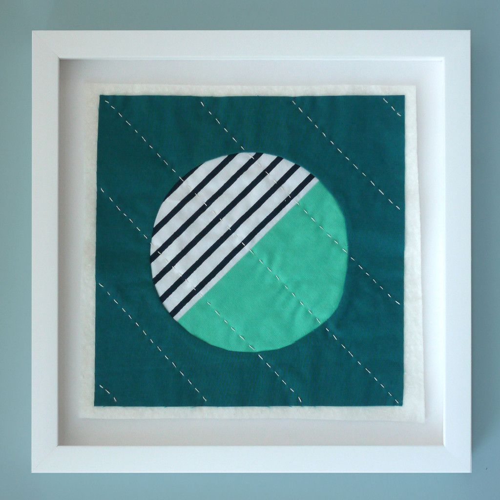 HAND STITCHED AND CUSTOM FRAMED QUILT BLOCK - Half Moon Bay