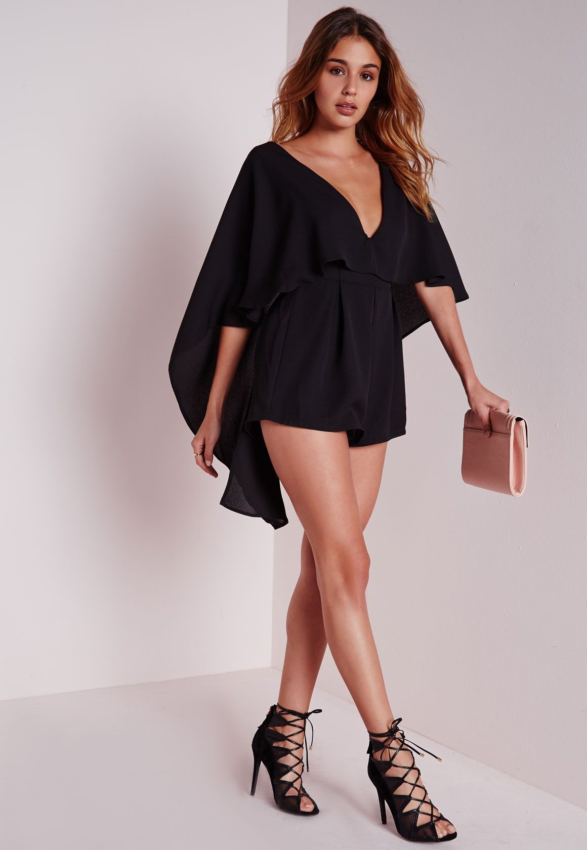 9c6842ca29 Missguided - Chiffon Cape Playsuit Black