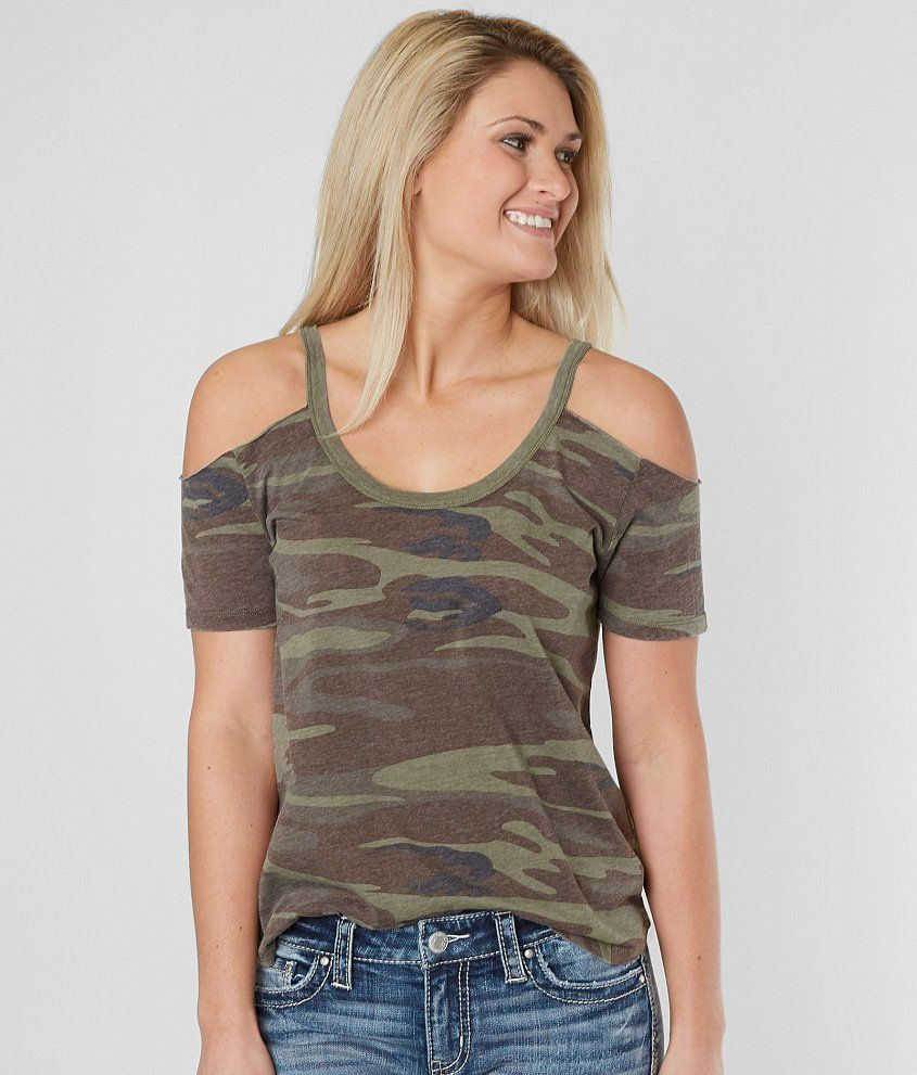 3664273421a4b White Crow The Camo Cold Shoulder T-Shirt - Women s T-Shirts in Camo Green