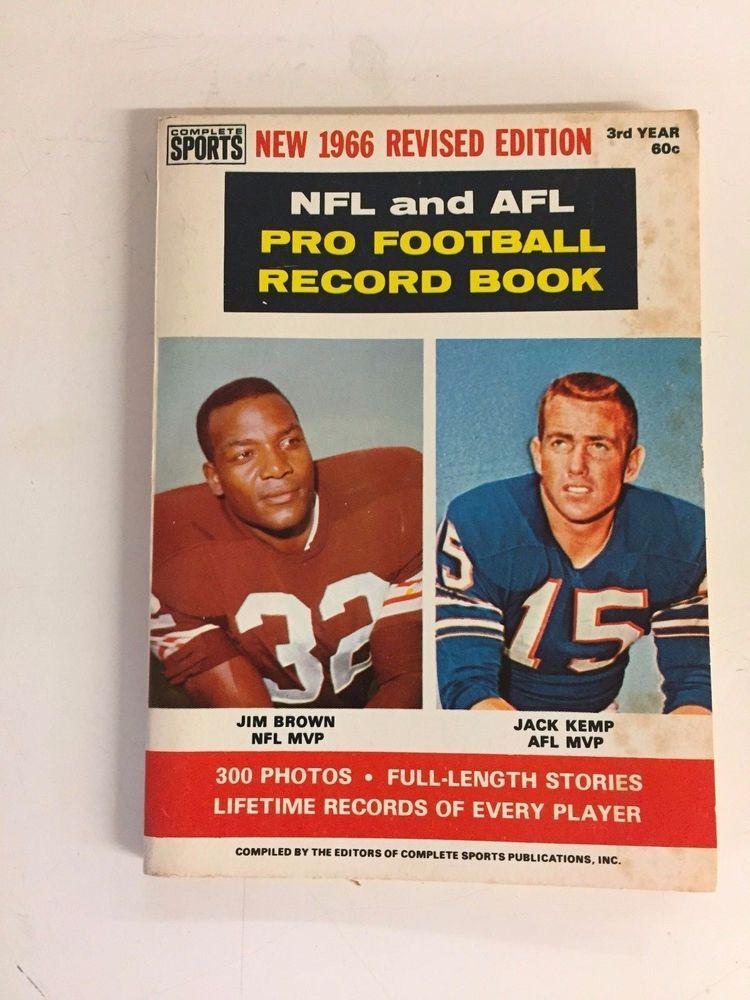 Vtg 1966 NFL AFL Pro Football Record Book Revised Edition