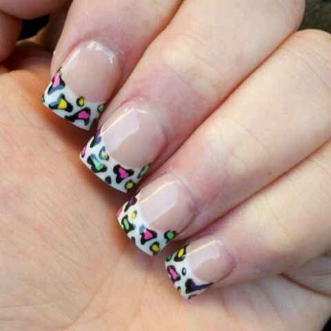 Nail Tips Art French Tips Cheetah Print Nails Nail Design Nail