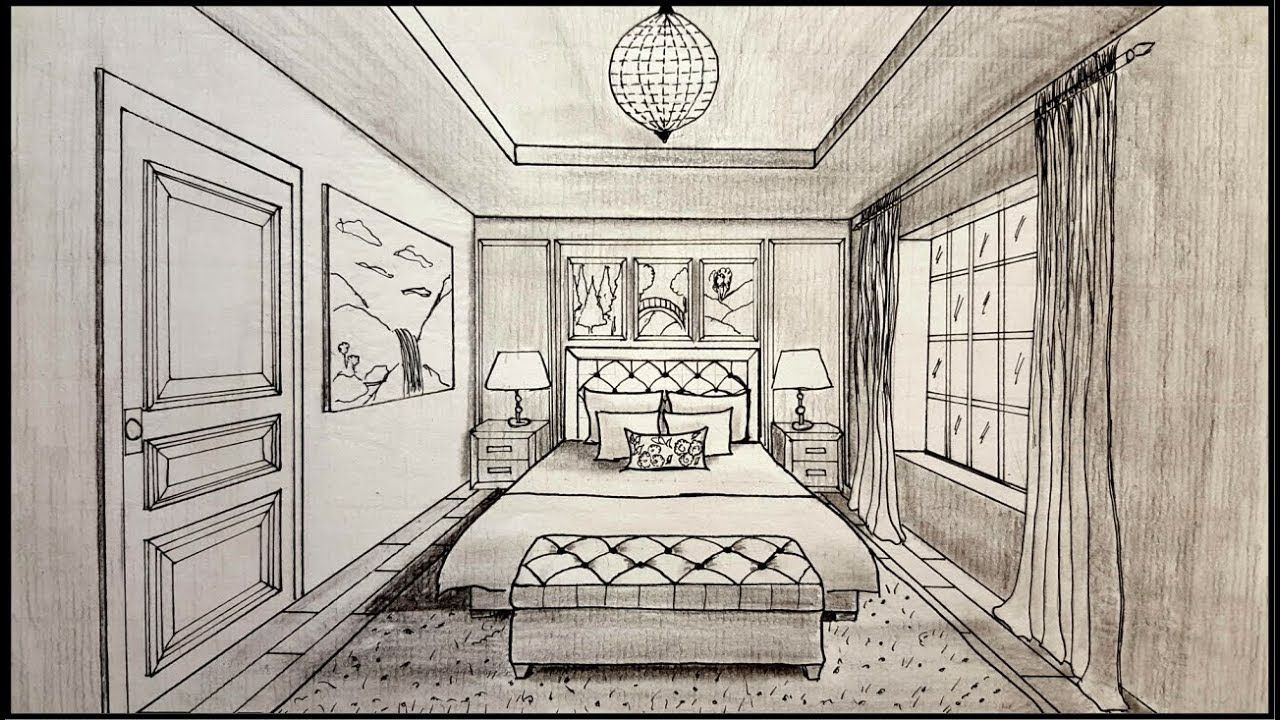 Drawing A Bedroom In One Point Perspective Timelapse Bedroom Drawing Drawing Room Interior Perspective Room