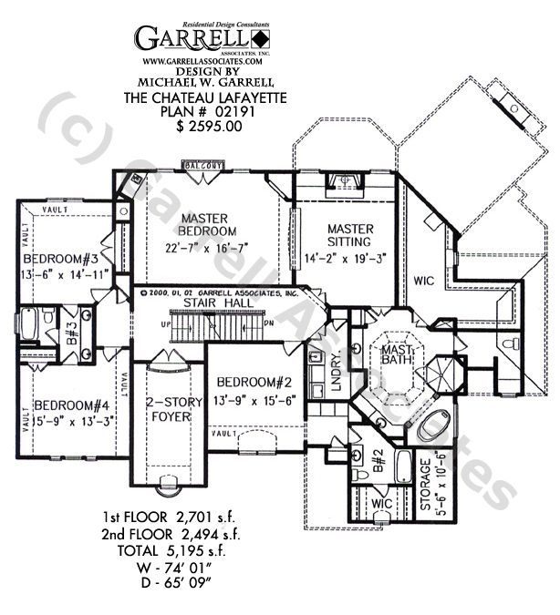 Second Floor plan of Chateau Lafayette a country French house plan by Garrell and Associates